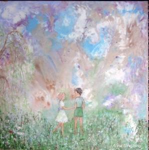 Alexander og Sofia. Format 60x60 cm. Akryl på lærred