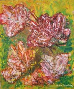Sommefugl og blomster. 50x60. Akryl på lærred