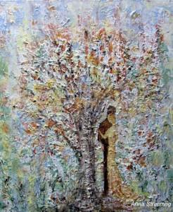 Under et træ. Format 50x60 cm. Akryl på lærred. pik